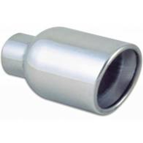 Vibrant 3in Round SS Exhaust Tip (Double Wall Resonated Angle Cut Rolled Edge)