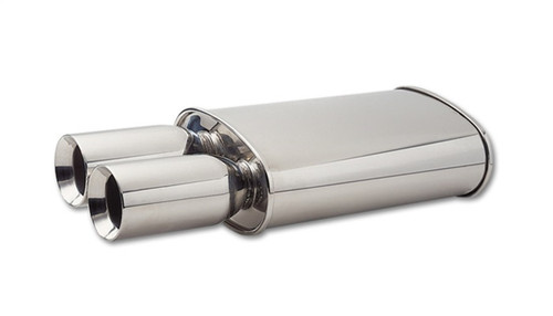 Vibrant StreetPower Oval Muffler w/ Dual 3.5in Round Tips Straight Cut Beveled Edge 2.5in inlet I.D.