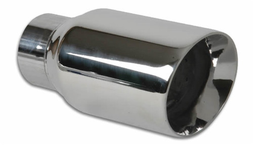 Vibrant 3in Round SS Exhaust Tip (Double Wall Angle Cut Beveled Outlet)