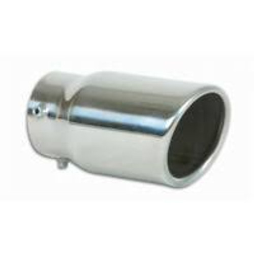 Vibrant 3in Round SS Truck/SUV Exhaust Tip (Single Wall Angle Cut) - 2.25in inlet 18in long