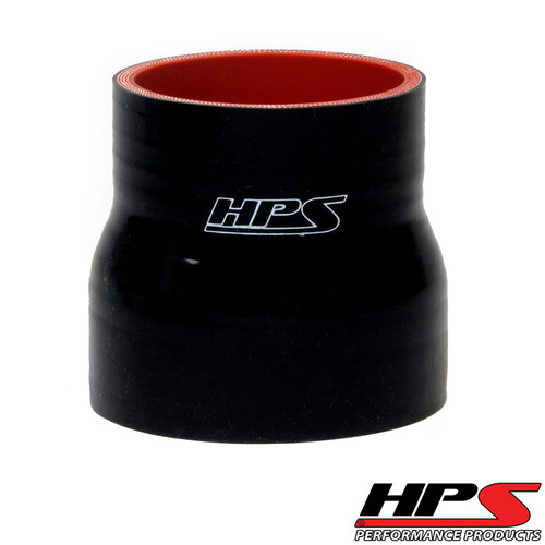 """HPS 1.25"""" - 1.75"""" ID , 4"""" Long High Temp 4-ply Reinforced Silicone Reducer Coupler Hose Black (32mm - 45mm ID , 102mm Length)"""