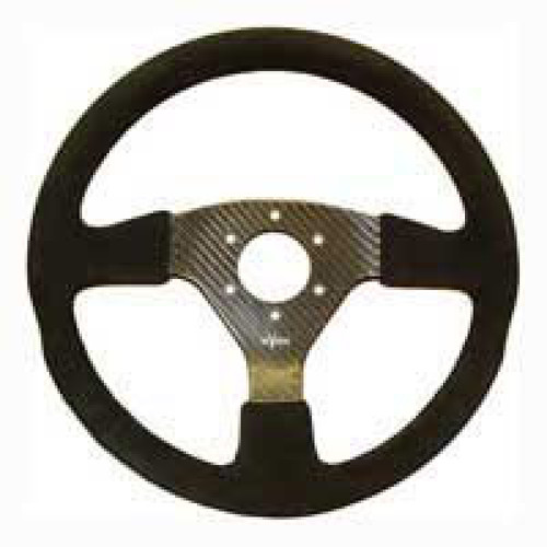 Reverie Rally 350 Carbon Steering Wheel - MOMO/Sparco/OMP Drilled, Alcantara Trimmed