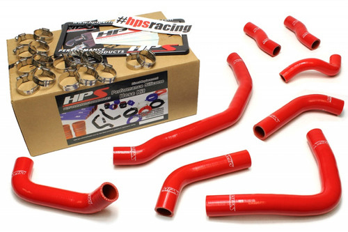 HPS Red Reinforced Silicone Coolant Hose Complete kit (8pc) for front radiator   rear engine for Toyota 90-99 MR2 3SGTE Turbo