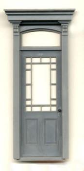 WORKING VICTORIAN DOOR WITH FLAT BOX PEDIMENT