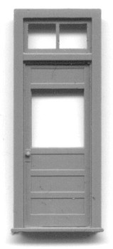 34″ x 6-10″ PANELED DOOR WITH WINDOW AND FRAME WITH TRANSOM