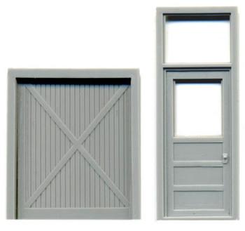 PANEL DOOR W/TRANSOM PLUS CROSS-BRACED FREIGHT DOOR