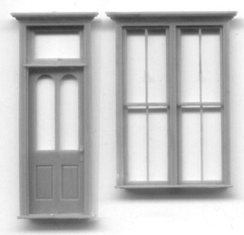 VICTORIAN STOREFRONT SET: DOUBLE WINDOW DOOR WITH TRANSOM