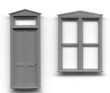 TRIANGLE PEDIMENT DOUBLE WINDOW AND DOOR SET