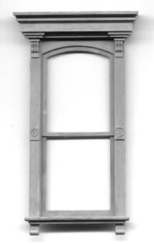 "VICTORIAN WINDOW WITH FLAT BOX PEDIMENT  includes pre-cut window ""glass"""