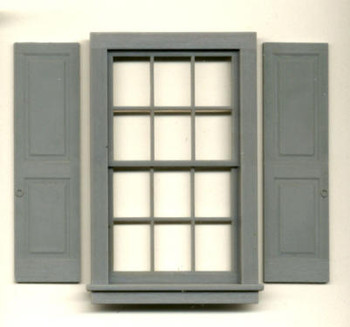 37″X64″ DOUBLE HUNG WDW-12 PANE (shown with shutters #3956–sold separately)