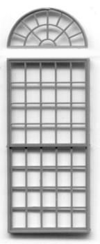 60″ x 150″ ROUND PEDIMENT WINDOW -53 PANE(for masonry buildings)