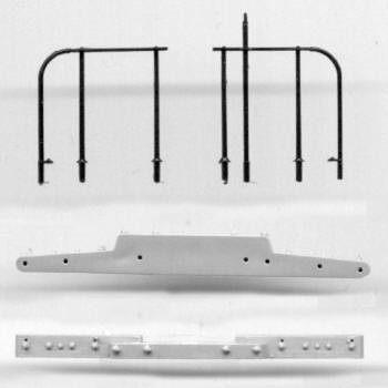 NARROW GAUGE PASSENGER CAR END BEAM AND RAILING SET note:  because of the delicate molding, this railing is cast in black delrin Set includes (2) sets of end rails, (2) end beams