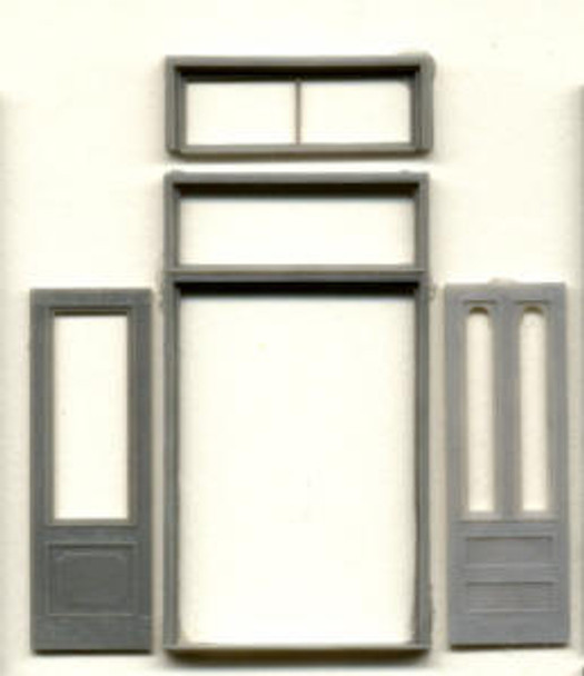 DOUBLE STOREFRONT DOOR WITH RECTANGULAR WINDOW AND OPTIONAL SECOND TRANSOM–65″X12′  (for masonry)