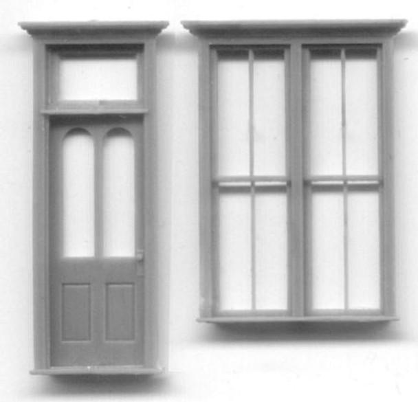 VICTORIAN STOREFRONT SET: DOUBLE WINDOW DOOR WITH TRANSOM
