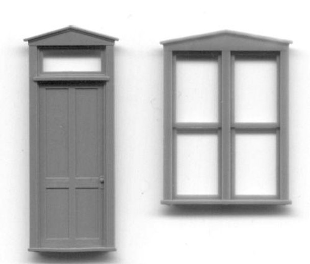 TRIANGLE PEDIMENT DOUBLE WINDOW AND DOOR SET