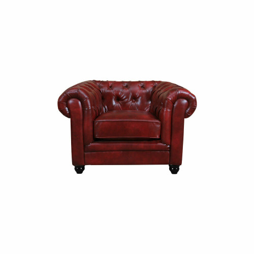 RUTLAND Antique Oxblood Red Leather Chesterfield Armchair