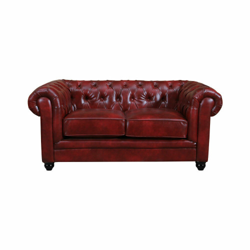 RUTLAND Antique Oxblood Red Leather Chesterfield 2 Seater