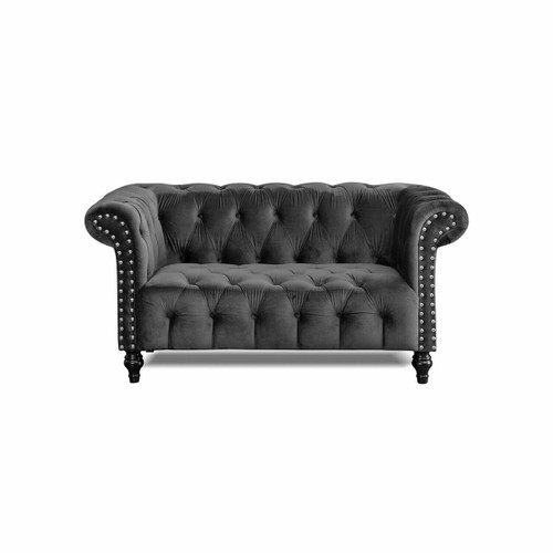 LOXLEY Charcoal Grey Plush Velvet Chesterfield 3 Seater
