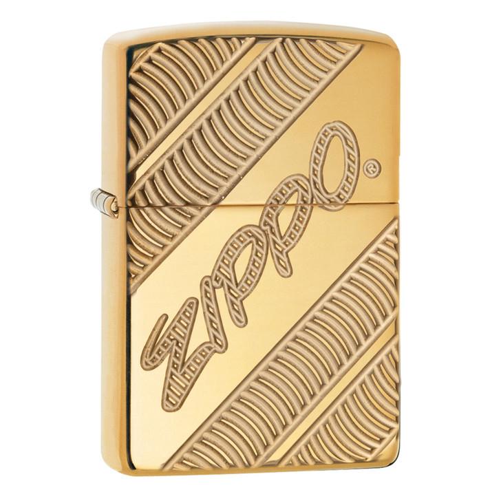 High Polish Brass Deep Carve Zippo™ Logo