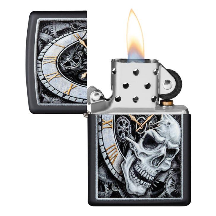 Black Matte Clock Skull