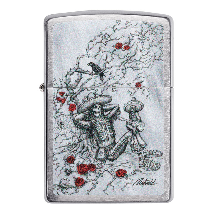 Zippo Brushed Chrome Mexican Skull