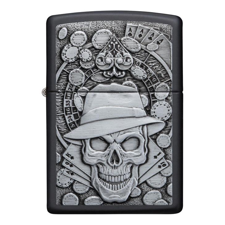 Zippo Black Matte Skull Detective