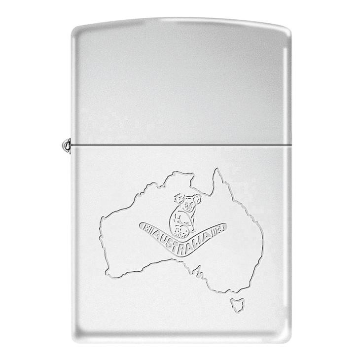 Australian Koala on Map - High Polish Chrome