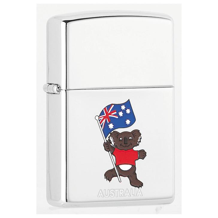 Australian Koala with Flag -  High Polish Chrome