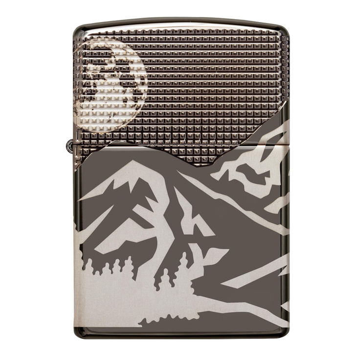 Zippo Mountains Armor® High Polish Black Ice®