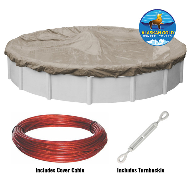 24 ft Round Alaskan Gold or Silver Above Ground Winter Swimming Pool Cover Includes Cable and Turnbuckle