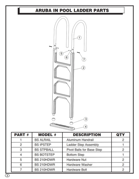 Ladder Step Assembly Replacement for BS IP 210 Aruba Ladder