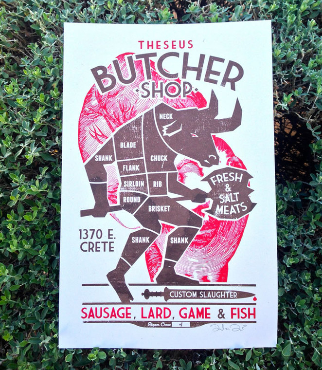 Theseus Butcher Shop Screenprint
