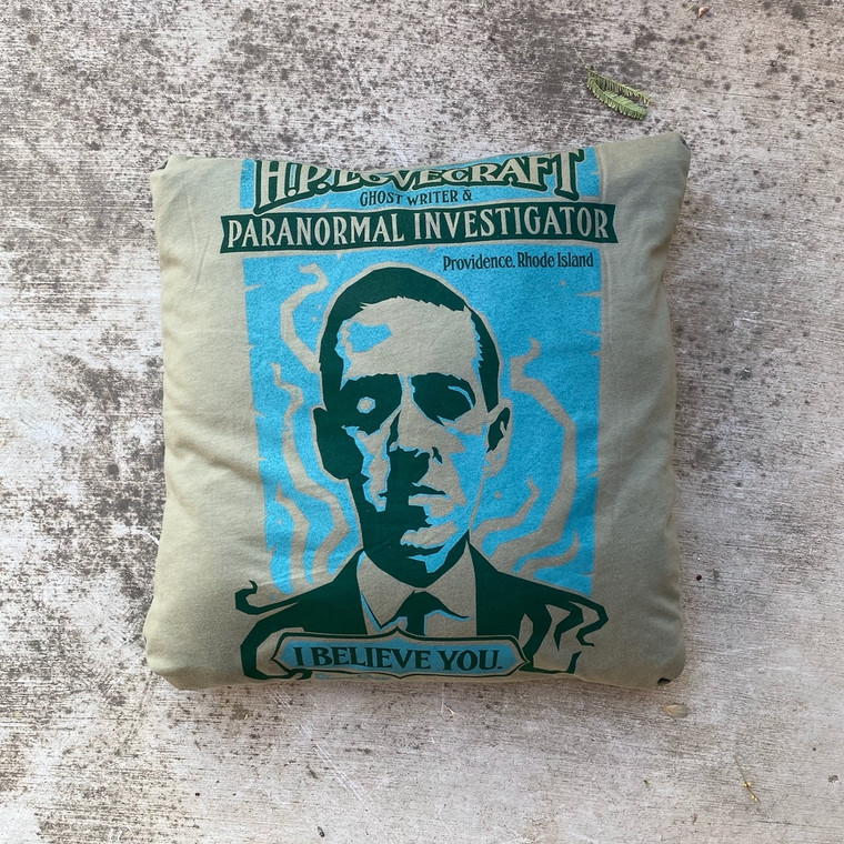 HP Lovecraft Paranormal Investigator T-shirt Pillow