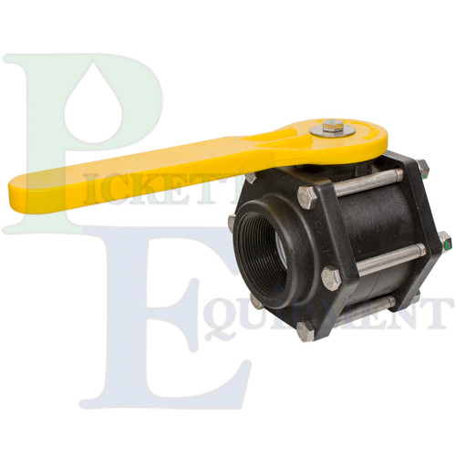 2in Full-Port Polypropylene Bolted Valve w/ EPDM Gasket & Yellow Handle