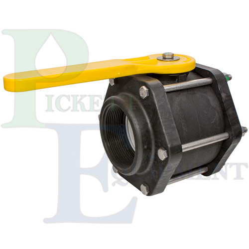 3in Full-Port Polypropylene Bolted Valve w/ EPDM Gasket & Yellow Handle