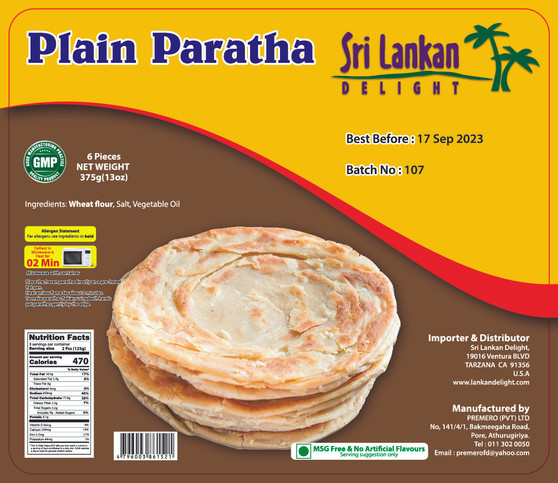 SLD Plain Paratha 375g -IN STORE PICK UP ONLY