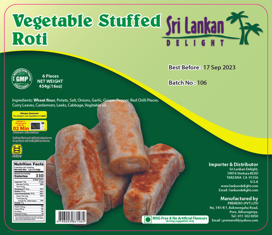 SLD Vegetable Stuffed Roti 454g(16 Oz) IN STORE PICK UP ONLY