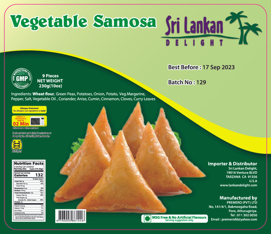 SLD Vegetable Samosa 230g (10 oz) IN STORE PICK UP ONLY