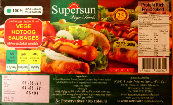 Supersun Meatless Hot Dog Sausages 200g - IN STORE PICK UP ONLY