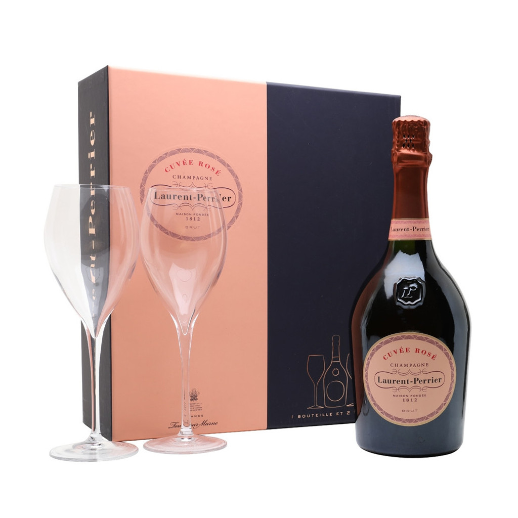 Laurent-Perrier Cuvee Rose with Glasses