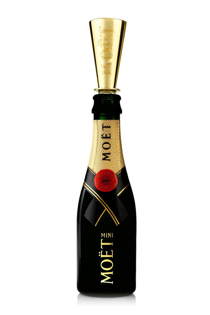 Moet & Chandon Imperial Brut (187ml Mini/Split Bottle) Case of 24 with Champagne Sippers
