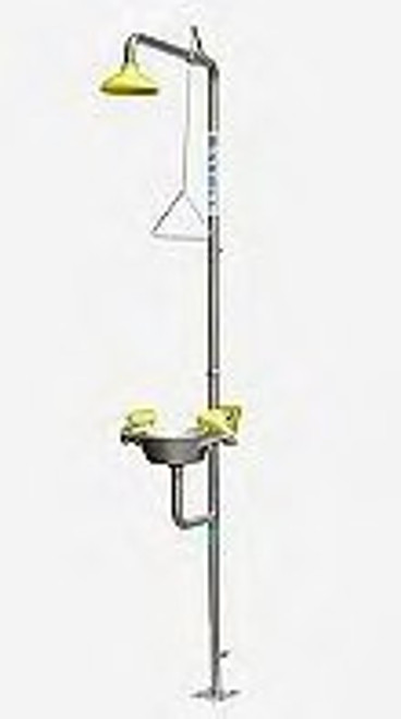 Deluge shower with eye/face wash, hand operated only