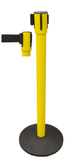 Retractable Q Post - 4m - Yellow Powdercoated Stainless Steel - Black Belt