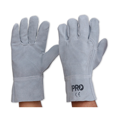 All Chrome Leather Glove - Grey - One Size - Pack of 12 pairs