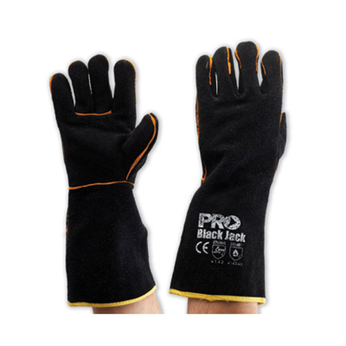 Black and Gold Welding Gloves - One Size - Pack of 6 Pairs