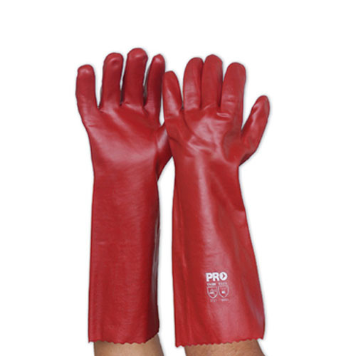 Pack of 12 - Red PVC Single Dipped Glove - Long - One Size