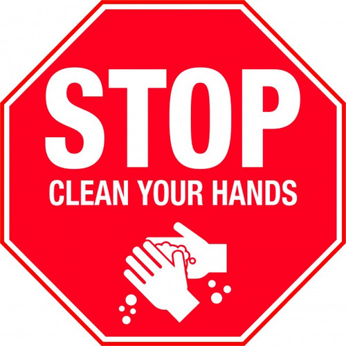 COVID19 Stop clean your hands sign - 300 x 300, Poly