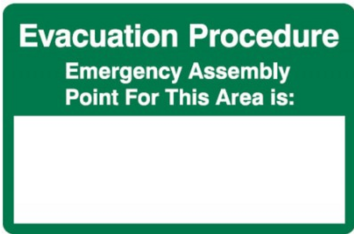Evacuation procedure emergency assembly point A sign
