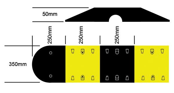 RS350AU speed hump dimensions