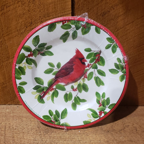 Paper Salad Plate - Winter Songbirds